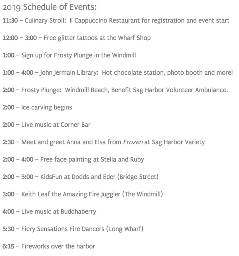Harborfrost Schedule 2019